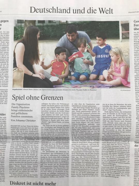 """""""Spiel ohne Grenzen"""" Zeitungsartikel über Family Playdates"""